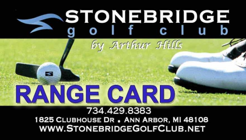 Driving Range Card for Stonebridge Golf Club Ann Arbor