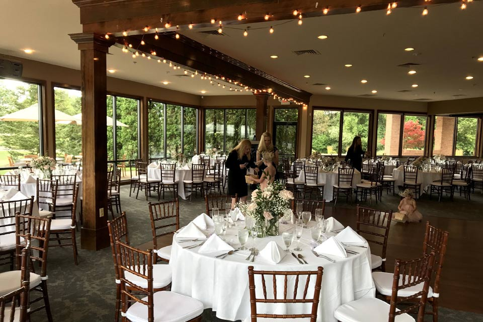 Wedding Reception Space in Ann Arbor with Floor to Ceiling Windows
