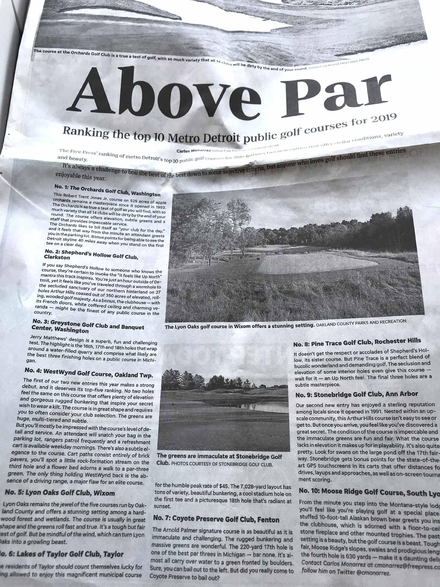 Top 10 Public Golf Course in Metro Detroit article